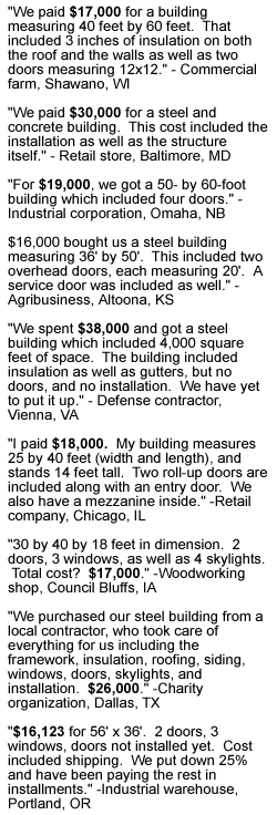 Steel building pricing